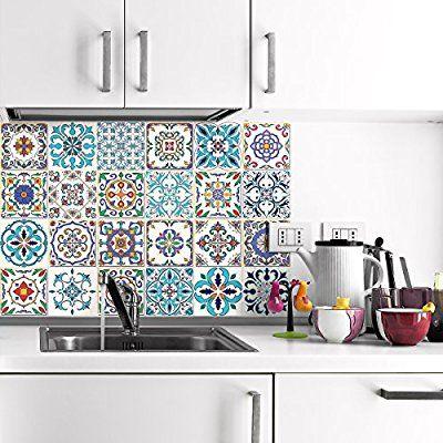 24 Aufkleber Fliesen Sticker Selbstklebend Fliesen u2013 Mosaik - wandtattoo für badezimmer