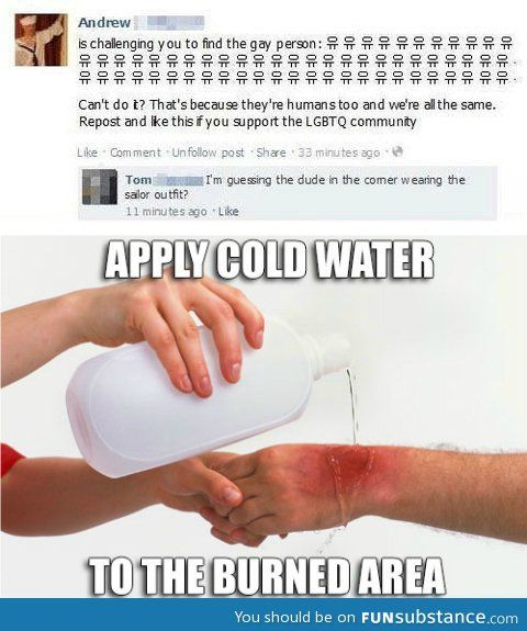 3ce0272dd12ff14fe449c78e004b2990 apply cold water to burned area random 3 pinterest humor