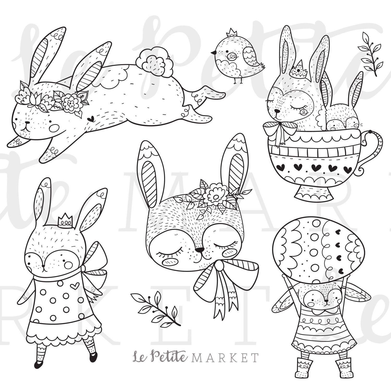 Cute Bunny Rabbit Clip Art Bunny Clip Art Spring Animals Etsy Thema Sprookjes Kleurplaten