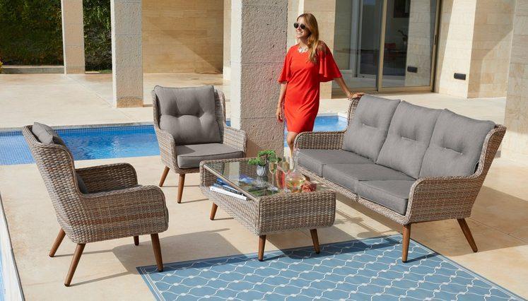 Konifera Loungeset Malibu 14 Tlg 3er Sofa 2 Sessel Tisch Polyrattan Online Kaufen 3er Sofa Lounge Und