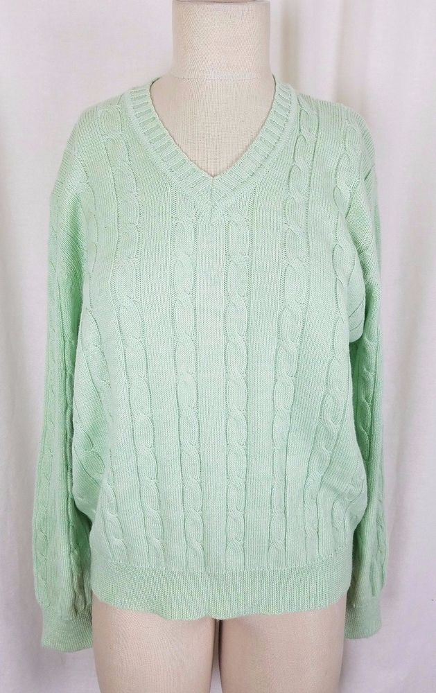 Kiltee Extrafine Merino Wool Cable Knit Vneck Sweater Womens Xl Mint