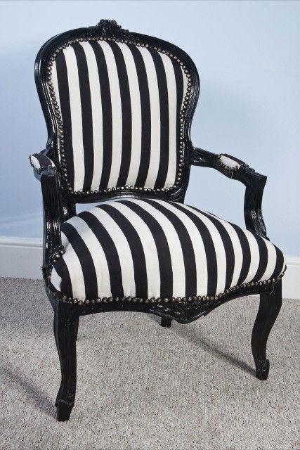 black white stripe louis vintage style fabric salon chair black