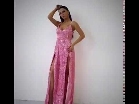 229a2403cc9 This pink sequin maxi dress is the perfect occasion dress for the party  season. This double split evening dress ...
