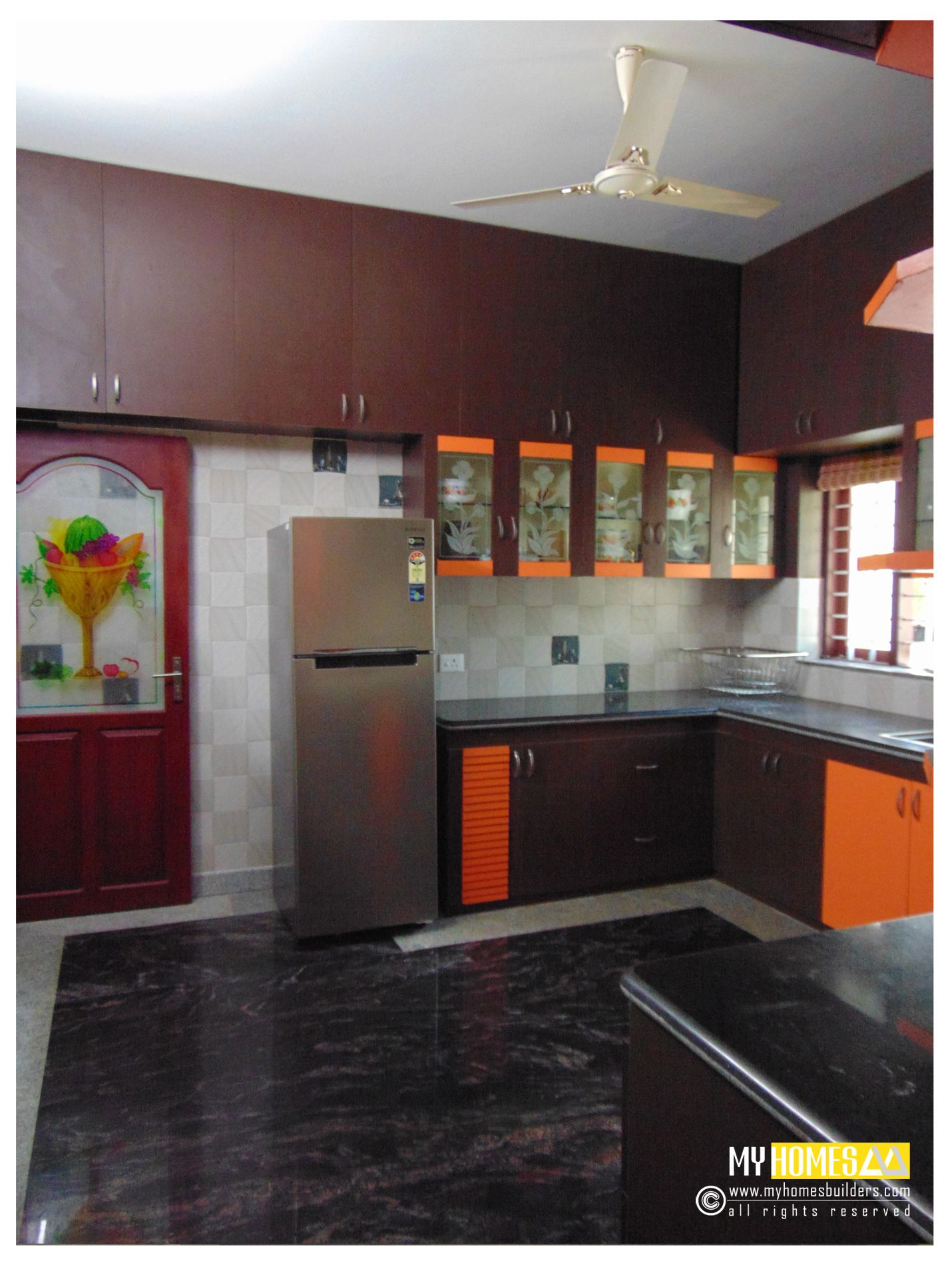 Modern kitchen designs in kerala kerala modern kitchen for Window glass design in kerala