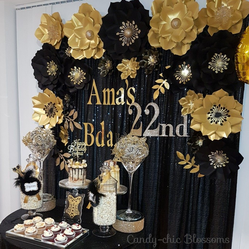22nd Birthday Ideas Black And Gold Paper Flowers Backdrops Gold
