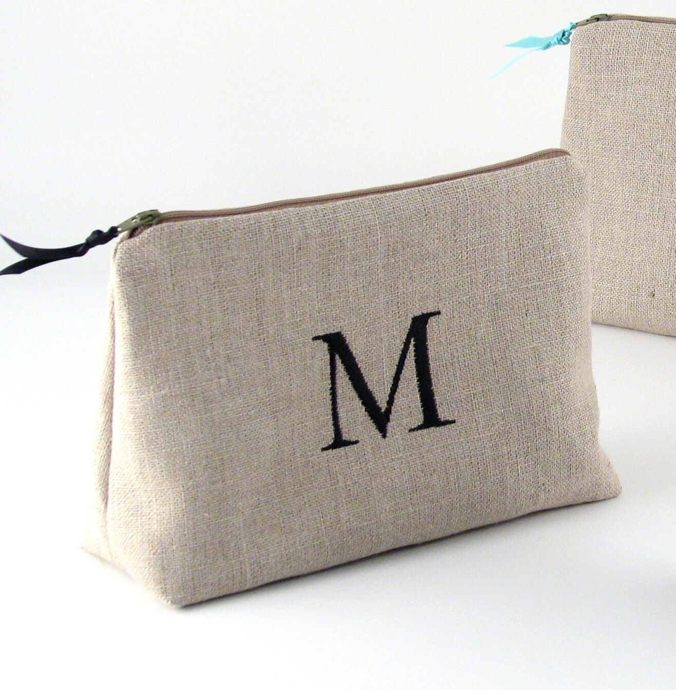 Personalized Linen Cosmetic Bag // Linen Clutch