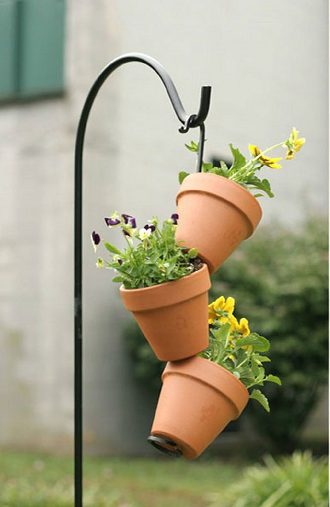 Black Wrought Iron Flower Pot Arm Lawn Garden Deck Patio
