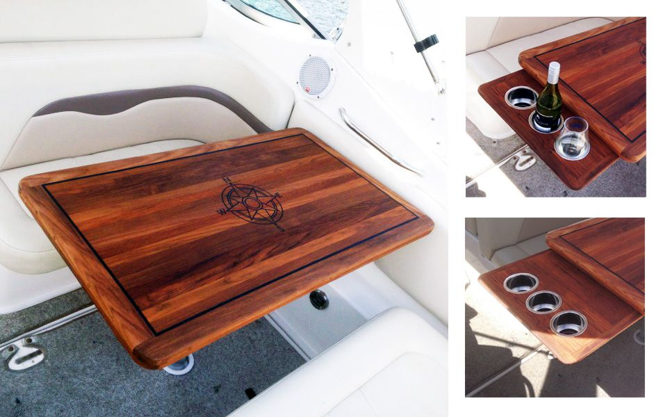 Natural Oiled Teak Tables For Your Boat Or Home Teak Table Boat Interior Cabin Interiors