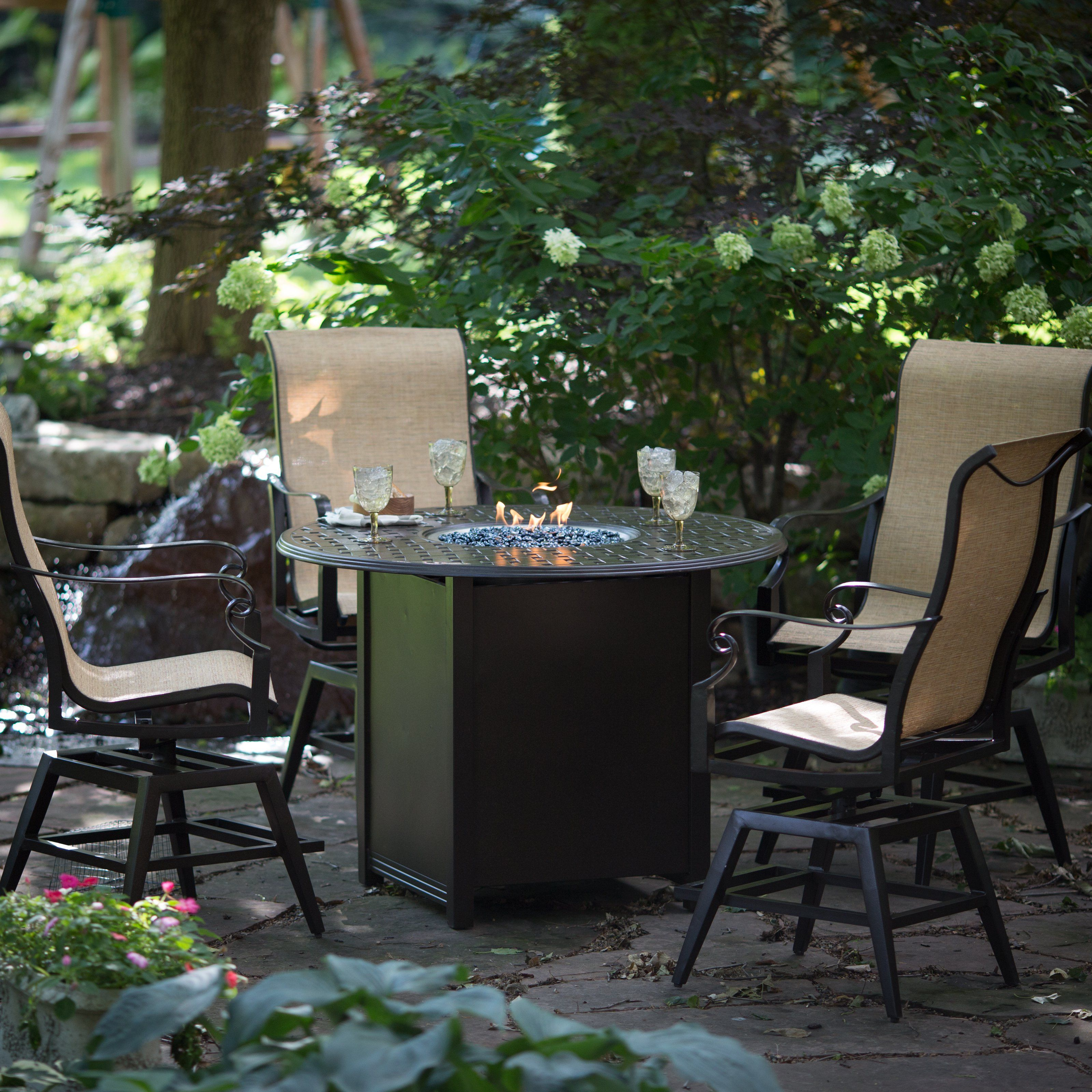 Woodard Sterling Counter Height Fire Pit Chat Set   Treat Guests To A Meal  At The
