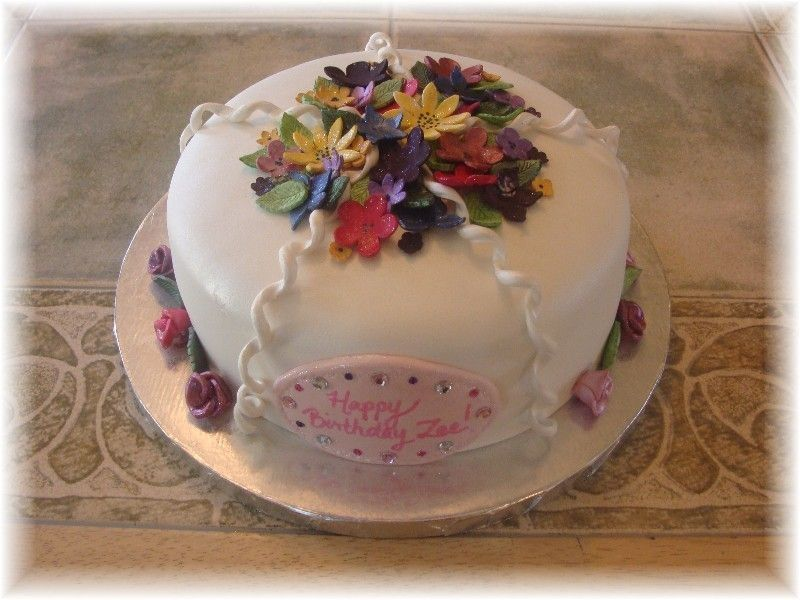 fondant 12 year old girl birthday cake Flower birthday cake