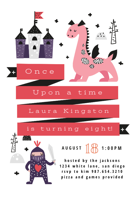 fairy tale party birthday invitation