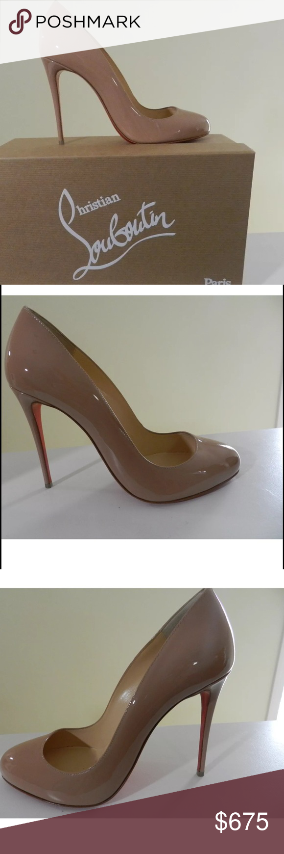 "Christian Louboutin nude patent leather pump 37 NEW! With protective bottom!! 4.25"" covered heel, Round toe. Low-dipped vamp. Topstitched collar. Signature red leather outsole. ""Dorissima"" is made in Italy. Absolutely new in box and dust cloth Size 37 US 7.  Insole Heel to toe: 9.5"" Width: 3"" Get them here & you won't have to pay tax & you get the protective bottom free (my cost was $45). YAY!! I'll even send the receipt from Barneys if requested. Christian Louboutin Shoes Heels"
