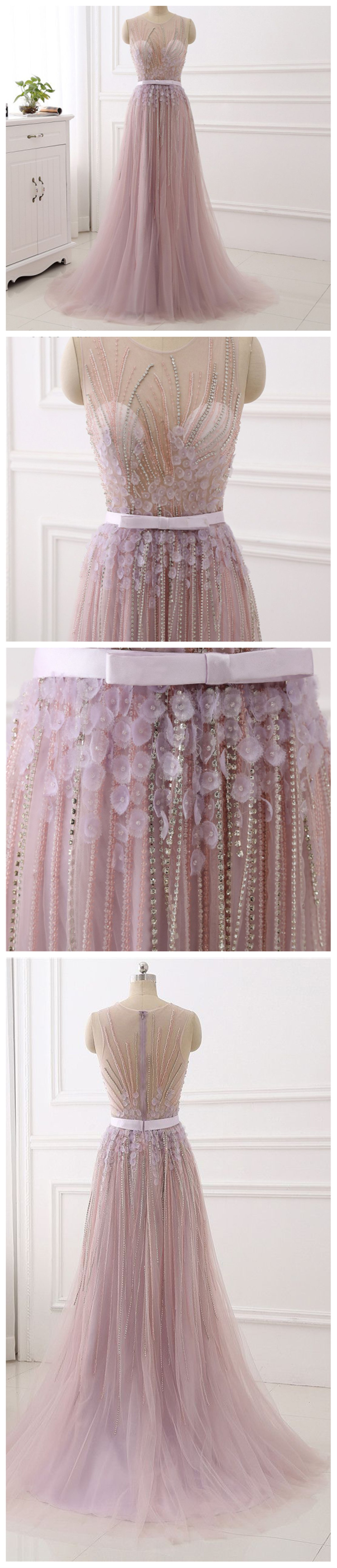 Pink see through lace dress  Sexy See Through Dusty Pink Lace Beaded Evening Prom Dresses