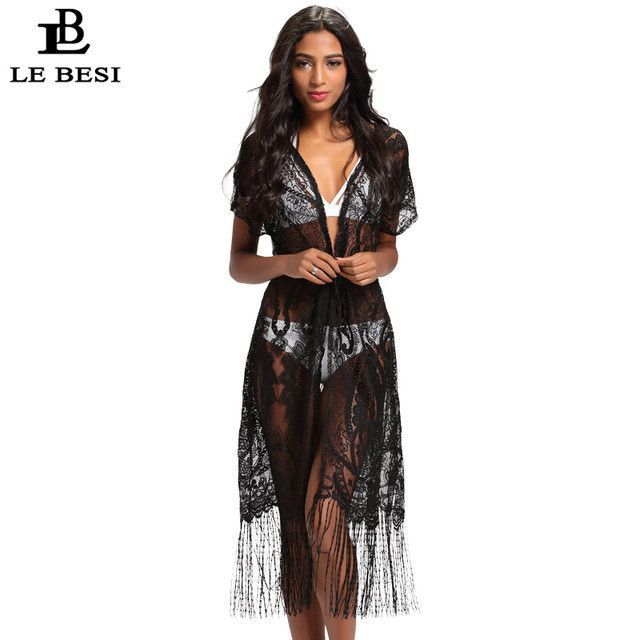 2017 LEBESI Women Bikini Tassels Cover-Ups Beach Crochet Cover Up ...
