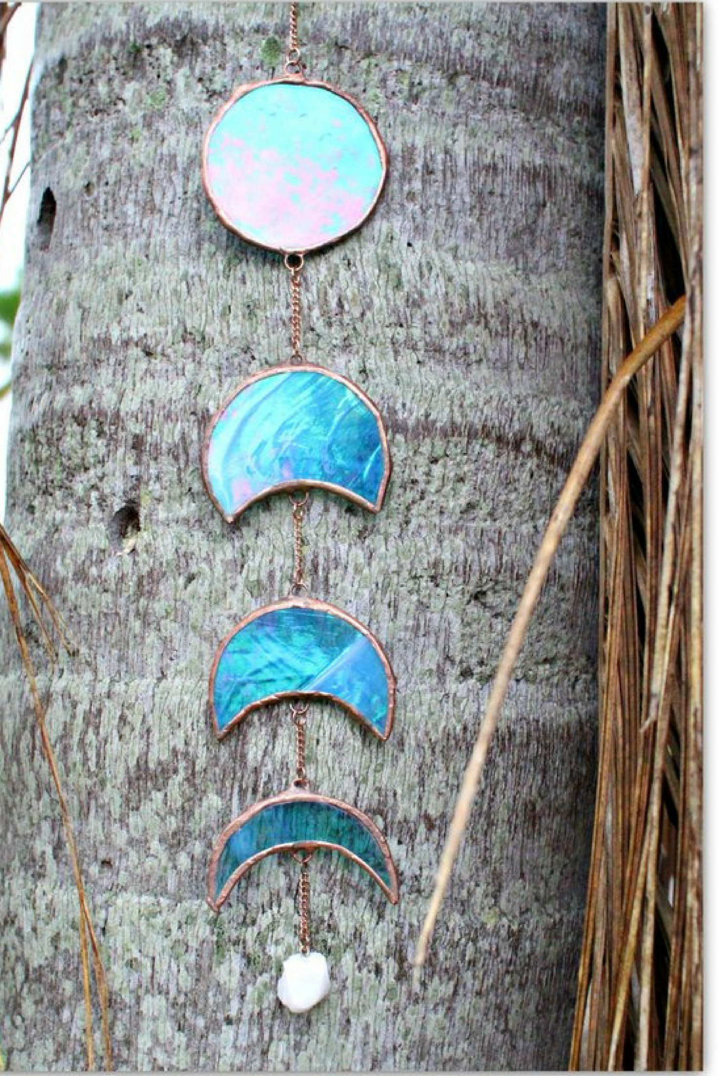 Iridized blue moon phase stained glass moon phase glass art