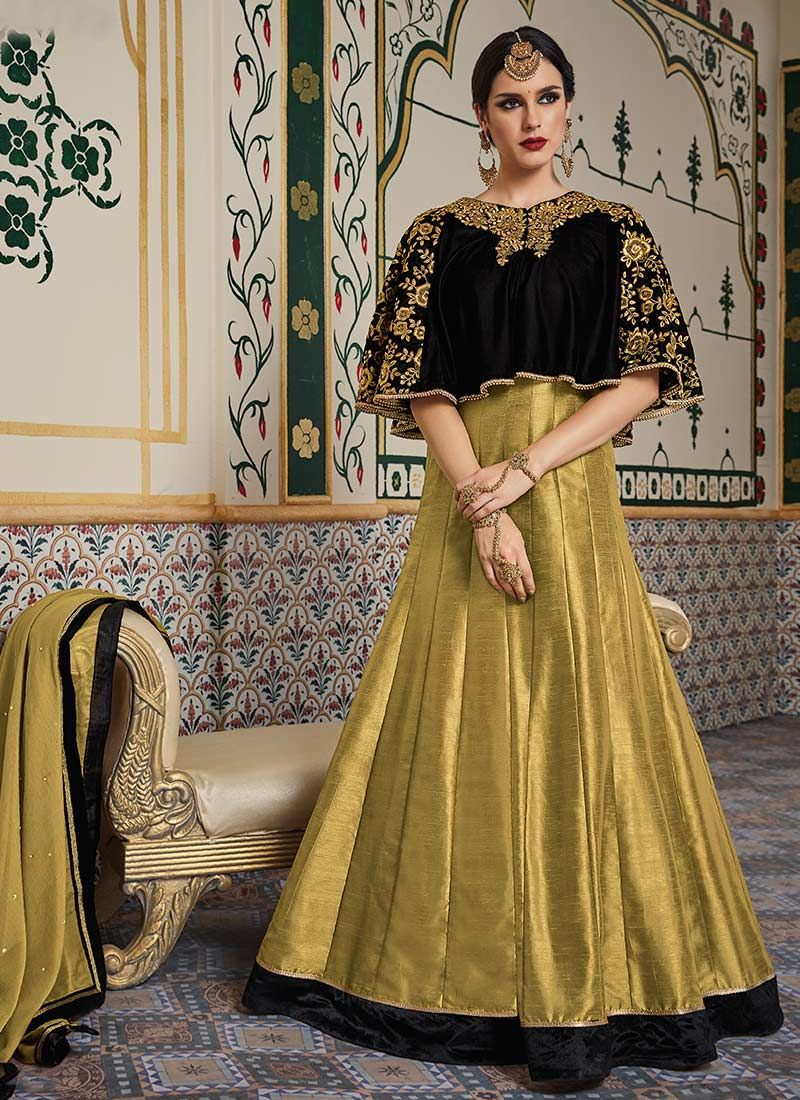 a219946377 This Black | Beige colored anarkali-suit in Velvet fabric goes well with  any occasion. Shop online Designer ...