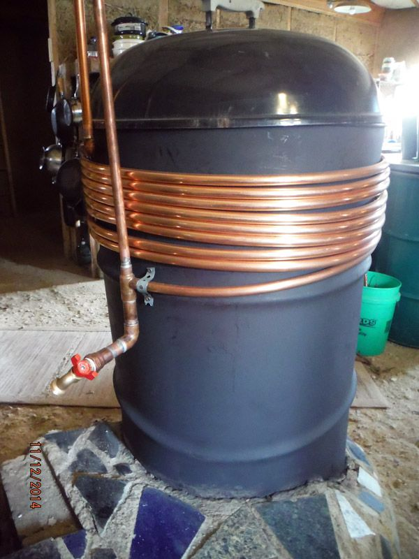 Rocket stove barrel copper hot water heating coils clean - Homemade swimming pool heat exchanger ...