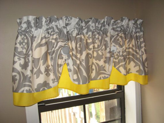 Countryruffles From Etsy Customized Yellow Gray Curtains Country Kitchen Curtains Grey Kitchen Curtains Gray And White Bathroom