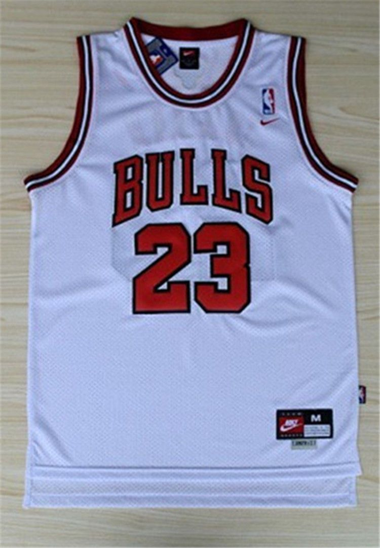 Michael Jordan Chicago Bulls Jersey Men  23 Throwback Swingman White Retro 4a28d7583