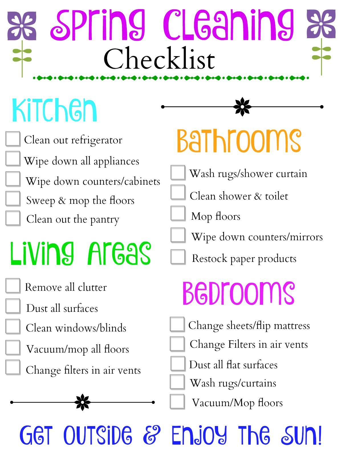 Use This Printalbe Spring Cleaning Checklist To Get A Jump Start