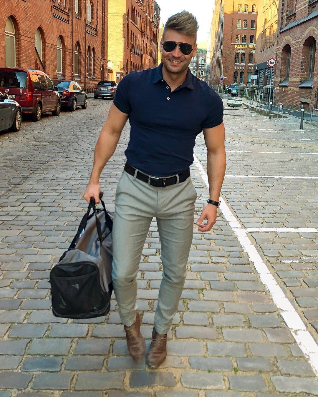 Men's street style. Blue polo shirt light grey suit pants ...