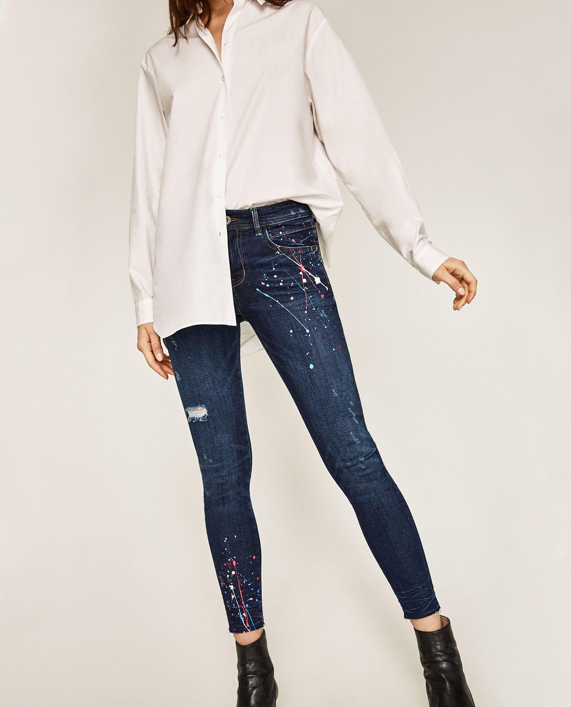 47e0de5d MID RISE PAINT SPLATTER JEANS   zara.   Paint splatter jeans, Jeans ...