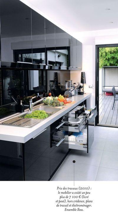 Une cuisine contemporaine avec îlot central Plan de travail, Work