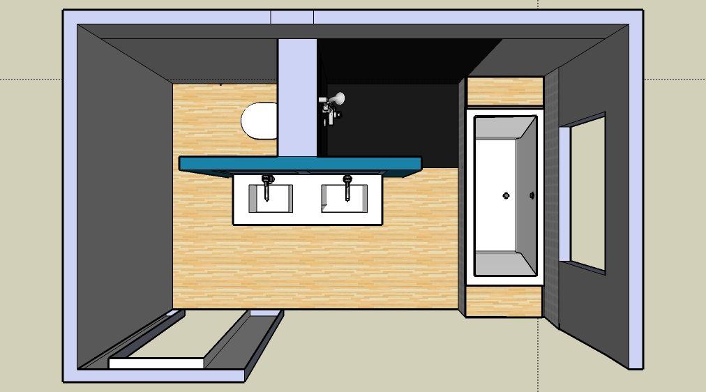 Leuk idee voor de indeling van onze badkamer!  Bathroom  Pinterest  욕실, 욕조 ...