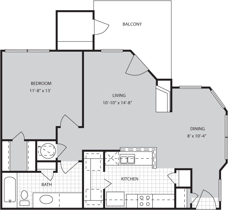 A3 Floor Plan :: 726 Sq Ft.1 Bed / 1 Bath