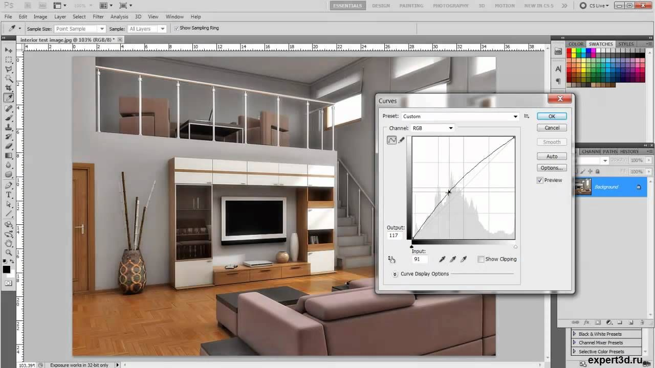 Photoshop , interior render enchancement