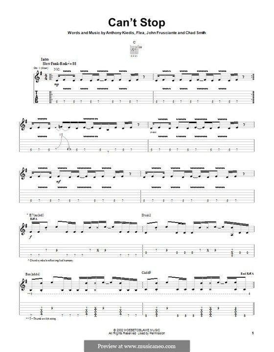 Cant Stop Red Hot Chili Peppers For Guitar With Tab By Flea