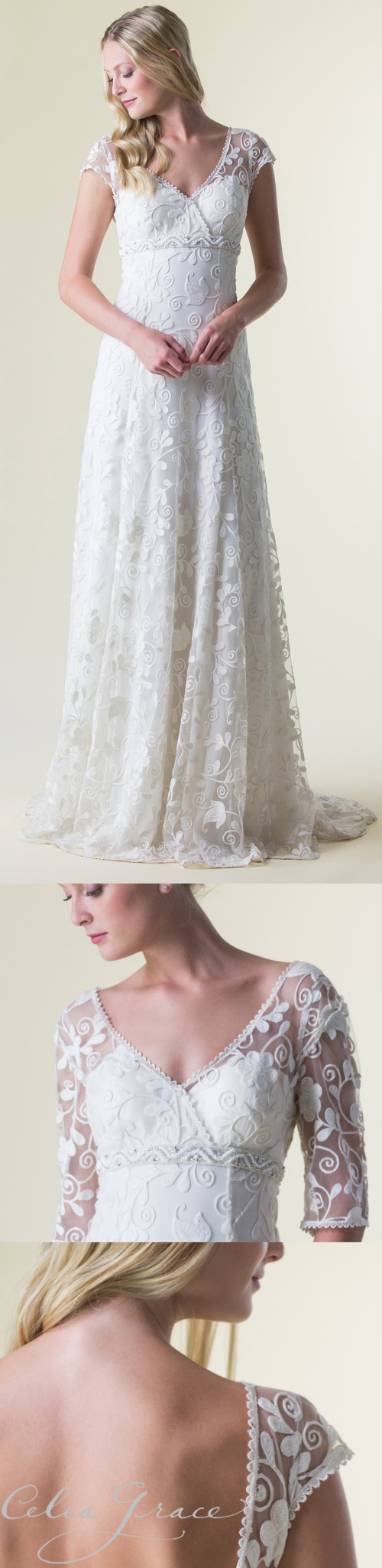 A wedding dress with illusion lace and sleeve options celia