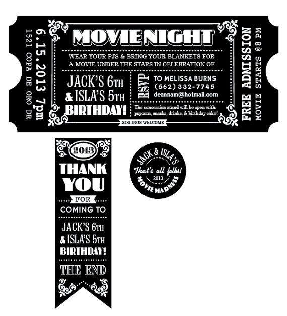 CUSTOMIZED Movie Ticket INVITATION PRINTABLE by deannamooredesign - ticket invitation template