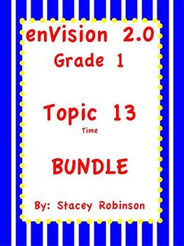 Telling Time Aids for enVision Math 2.0 Grade 1: Flipchart, Practice Pages, Task Cards, Lesson Plan, I can statements