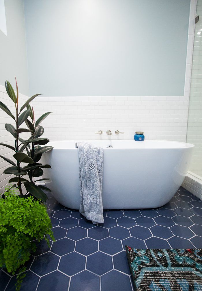 Hexagon blue floor tile with white subway tile; modern fresh ...