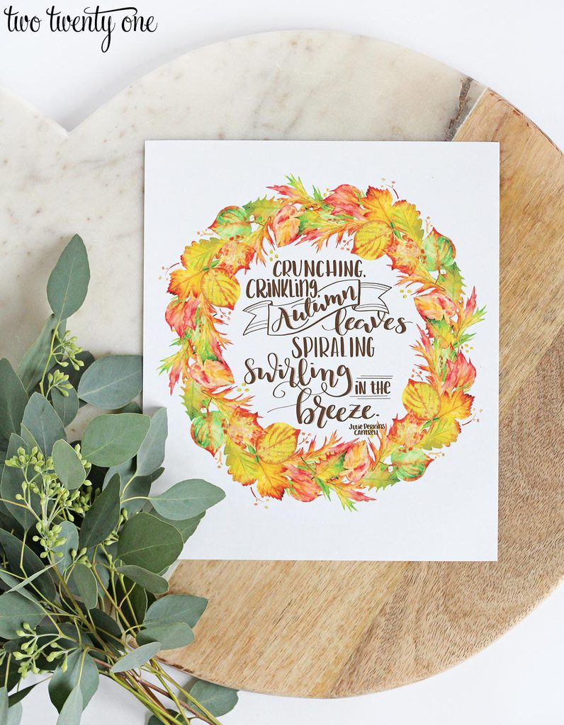 Autumn Leaves Printable is part of Free fall printables, Fall printables, Autumn quotes, Fall decor, Autumn leaves, Autumn - Free autumn leave printable to add to your fall decor! This printable features a festive, autumn quote and beautiful fall leaves in various colors!
