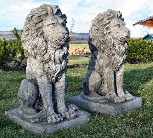 Stunning Pair Large Sitting Stone Cast Lions Garden Ornaments By Discount  Garden Statues, Http: