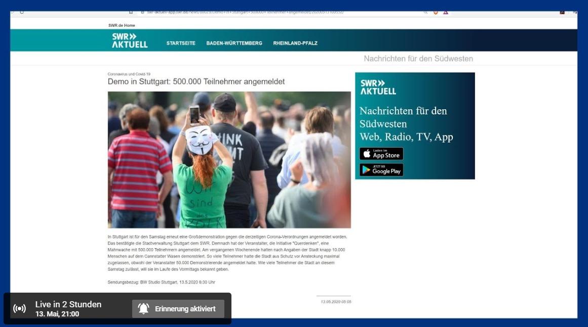 Livestream Demo Berlin Heute
