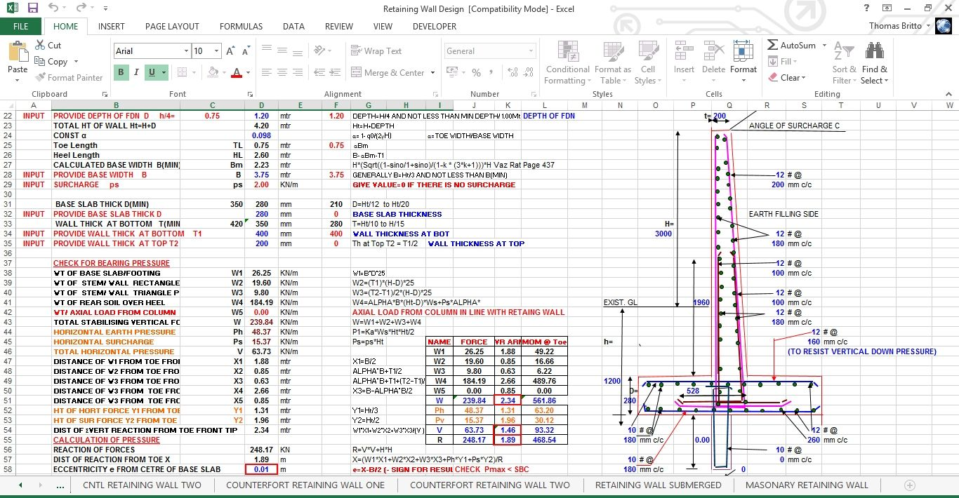 Gravity Retaining Wall Design Excel Sheet In 2020 Retaining Wall Design Gravity Retaining Wall Retaining Wall