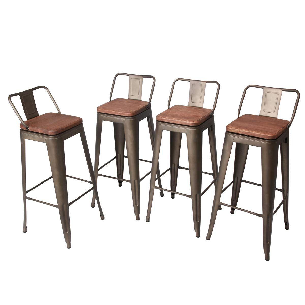 Andeworld Set Of 4 Swivel Counter Height Bar Stools Industrial