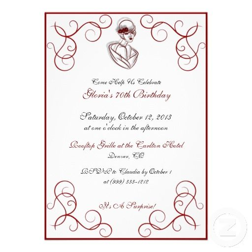 Red Hat Lady Custom Birthday Party Invitations Redhat Hatlady