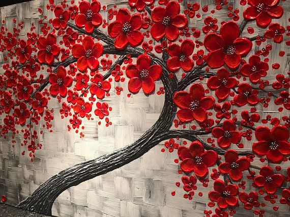 Red cherry blossom tree painting, large impasto abstract art, original contemporary livingroom wall decor