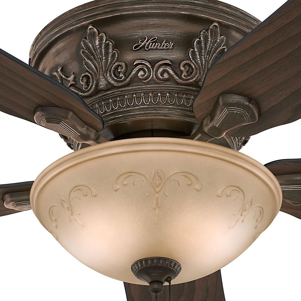 Hunter Viente 52 In Indoor Roman Bronze Flushmount Ceiling Fan With Light Kit 53035 The Home Depot Ceiling Fan With Light Victorian Ceiling Fans Fan Light Hunter ceiling fans with lights