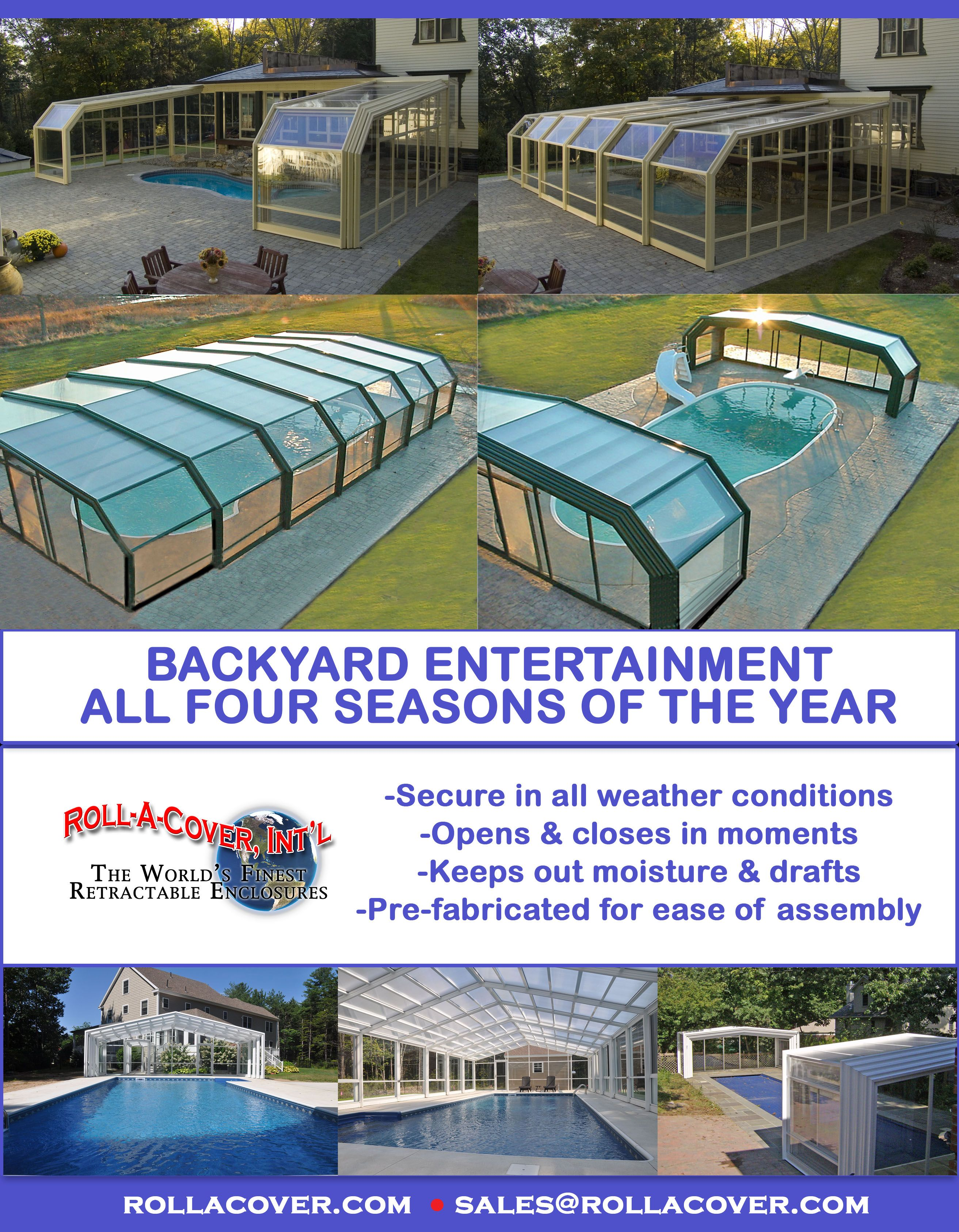 Retractable Pool Enclosures Manufactured By Roll A Cover Swimming Pool Enclosures Pool Enclosures Backyard Pool