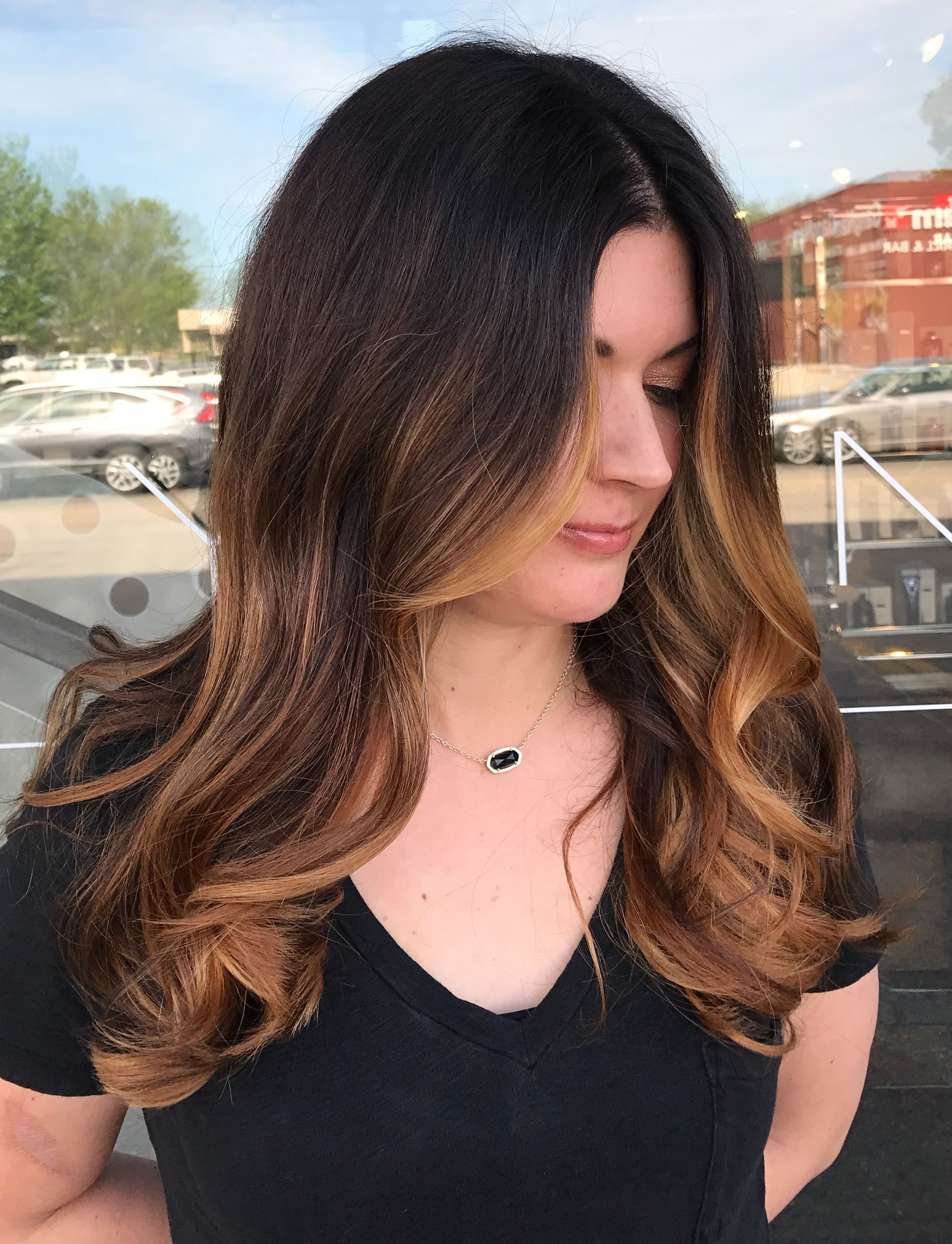Caramel Balayage On Dark Brown Hair Balayage On Long Hair Brunette Balayage Face Framing Ba Balayage Long Hair Balayage Hair Dark Blonde Balayage Hair Honey