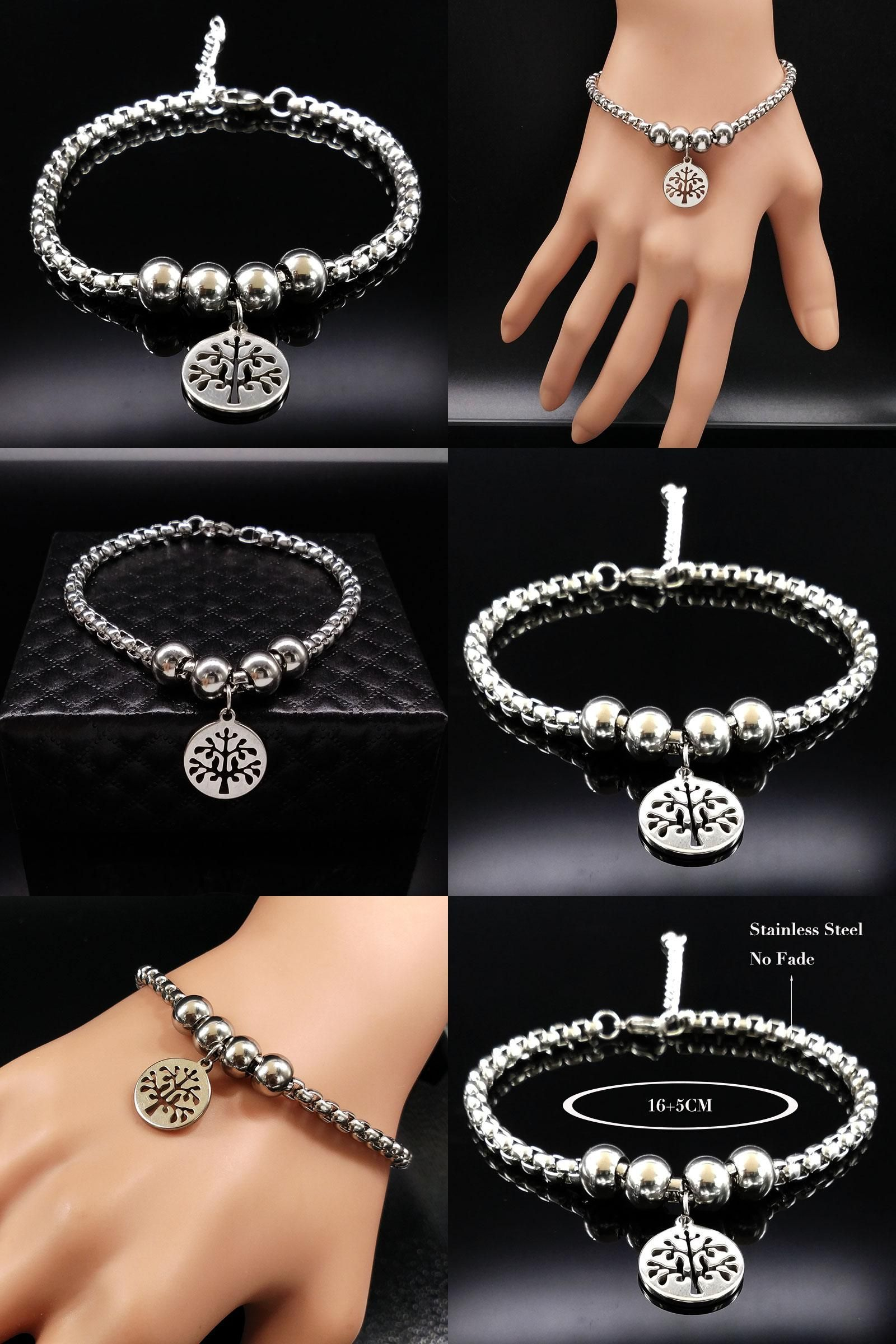 Visit to buy tree of life stainless steel bracelet women round bead