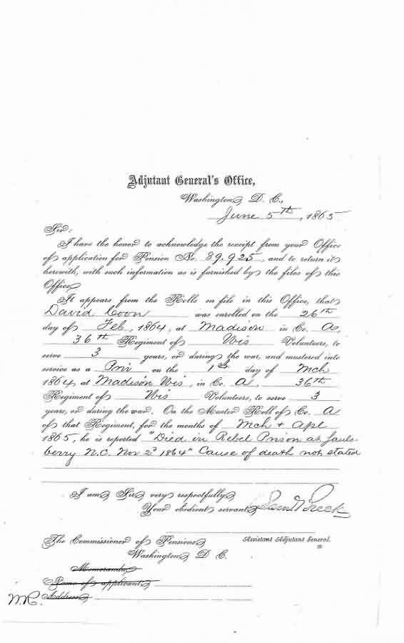 Transcription: Adjutant General's letter re David Coon's death.  Pension document from the Adjutant General's Office re David Coon's death.  The following is my transcription of a letter from the Adjutant General's office regarding David Coon's death during the Civil War. http://www.emptynestancestry.com/transcription-adjutant-generals-office-re-david-coons-death/