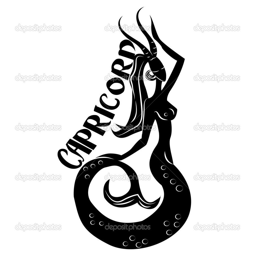 Capricorn Symbols Capricornelegant Zodiac Sign Stock Photo