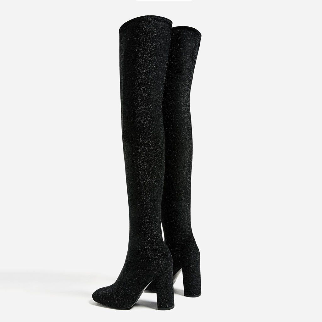 Nwt Zara Thigh High Sock Boots Size 40