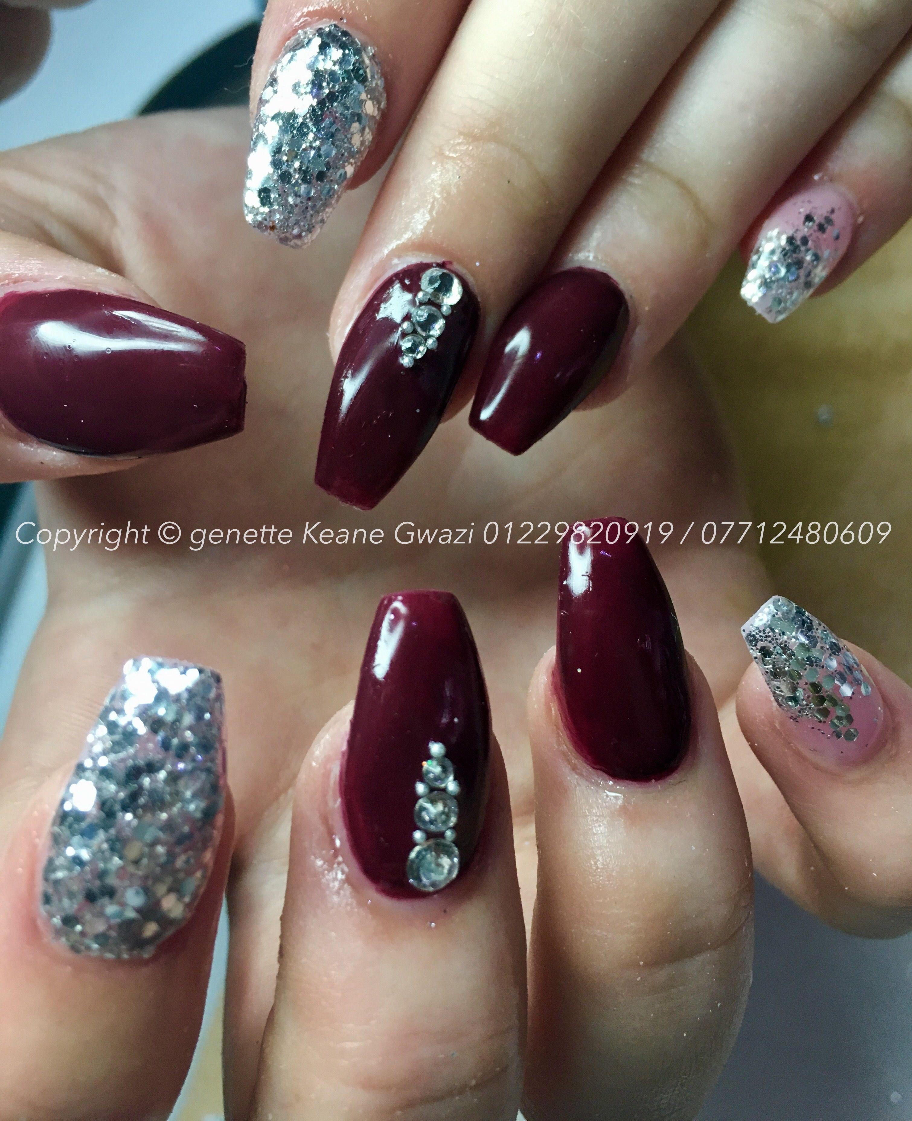 Acrylic Nails With Burgundy Gel Polish Silver Chunky Glitter Swarovski Crystal Nail Art Prom Nails Silver Prom Nail Designs Acrylic Nails